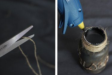 Wrap twine around the top and glue in place
