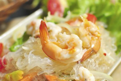 Thai foods spicy vermicelli and seafood dress salad