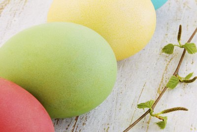 Easter eggs with birch branch