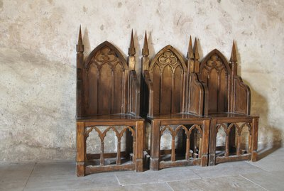 Gothic chairs in an old church