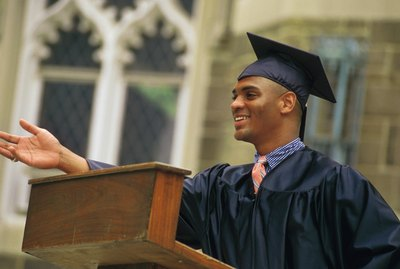 Young man giving graduation speech