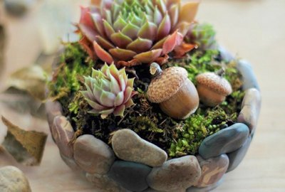 DIY Faux Stone Planter