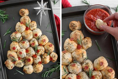 Christmas tree pull-apart pizza bread
