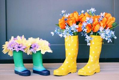 floral rainboots
