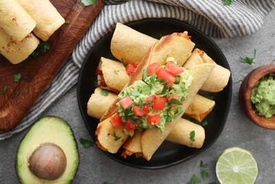 Vegan jackfruit and potato taquitos