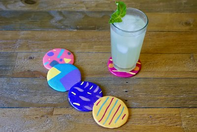 DIY Colorful Abstract Art Polymer Clay Coasters