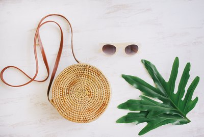 Round straw basket bag