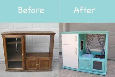 Cute play kitchen for kids, before and after