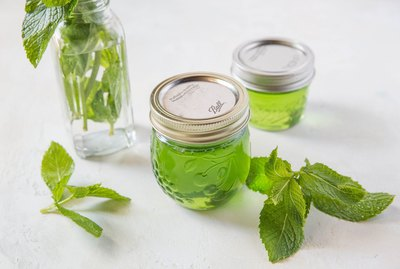 Jars of mint jelly