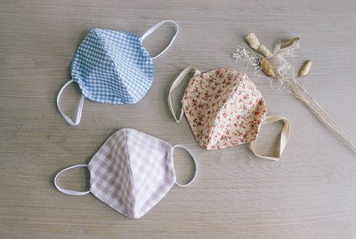 DIY gingham and floral fabric face masks