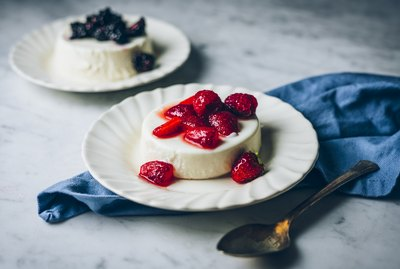 garnished panna cotta
