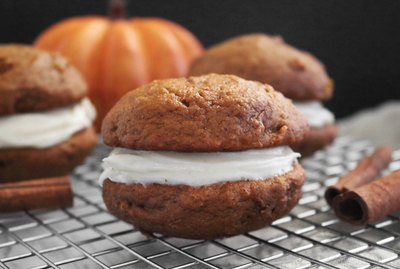 Spiced pumpkin whoopie pies with maple frosting