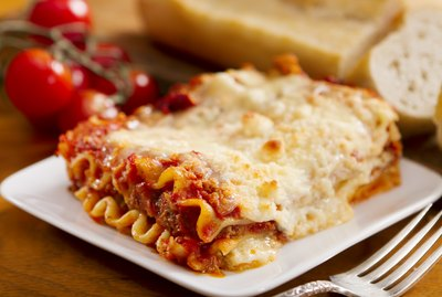 Freshly baked lasagna with lots of cheese