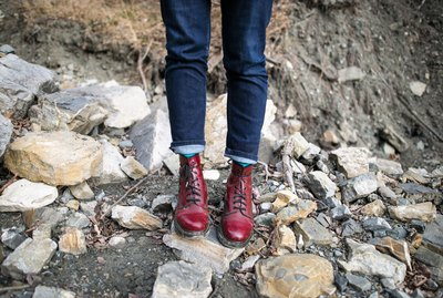 Red boots in the rocks