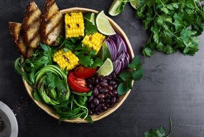 Colorful healthy vegan meal. Salad bowl