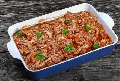 slow cooked pulled meat, top view