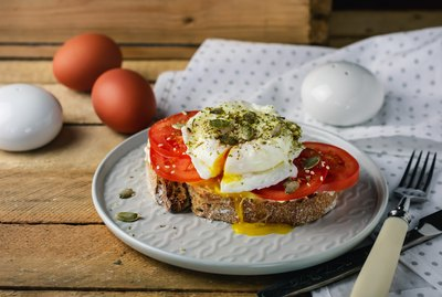 Poached Egg with Tomatoes.
