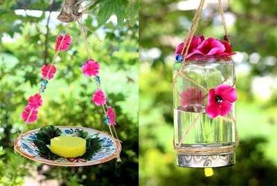 Two varieties of butterfly feeders.