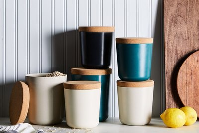 Recycled bamboo and cork food canisters