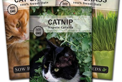 Catnip and cat grass seed packets.