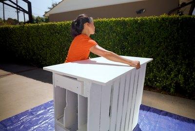 woman building DIY bar