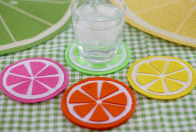 felt fruit-slice coasters