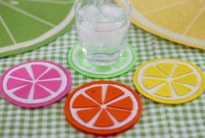felt fruit-slice coasters