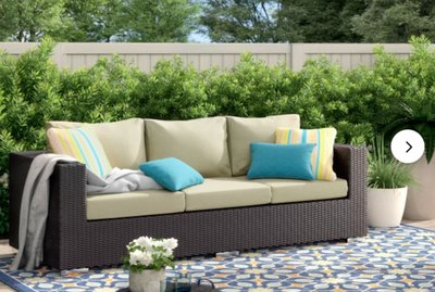 Brentwood 88'' Wide Outdoor Wicker Patio Sofa With Cushions