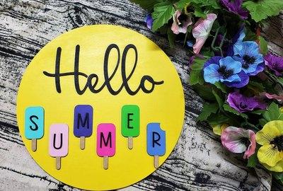 Hello Summer Popsicle Door Hanger