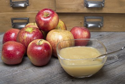 Applesauce on a wooden table
