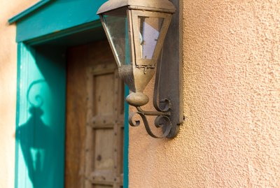 Santa Fe Style: Lantern at Old Blue Doorway