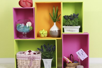 Shelves of different bright colors with decorative addition