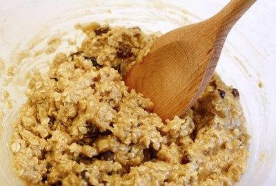 Mixing oatmeal raisin cookie dough