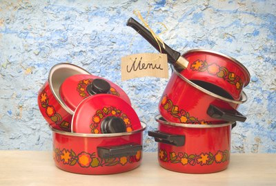 cooking pots with  menu sign
