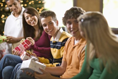 Teenage friends at Christmas