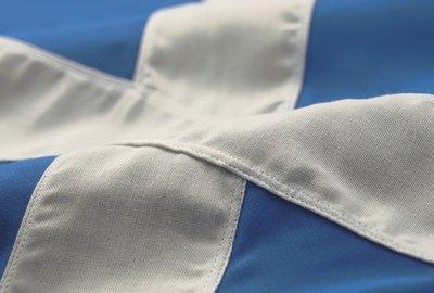Close-up of the flag of Scotland