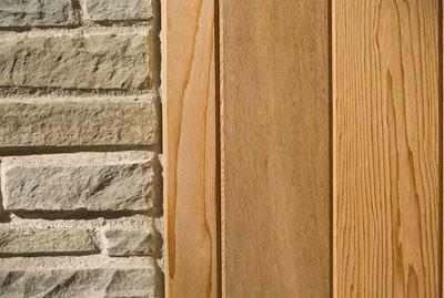 Brick wall and wood paneling