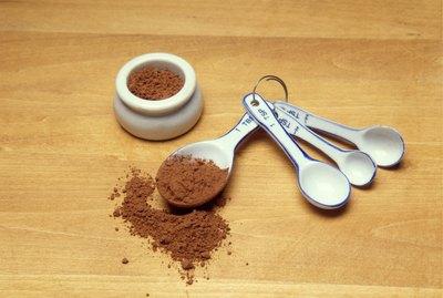 Cocoa powder in measuring spoons