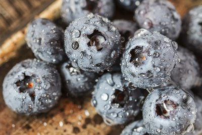Wet fresh Blueberry on wooden background
