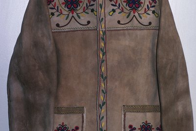 Leather jacket embroidered with flowers