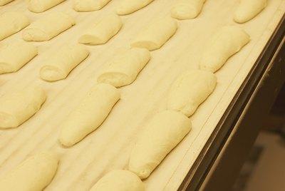 Rows of bread dough