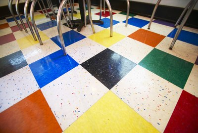 Floor tiles in classroom