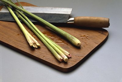 Lemon grass on chopping board