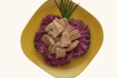 Canned tuna on savoy leaves