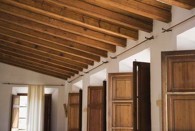 Home with wooden ceiling beams