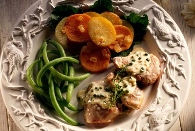 Pork tenderloin with green beans and potatoes