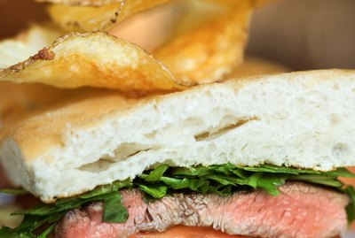 Close-up of steak sandwich