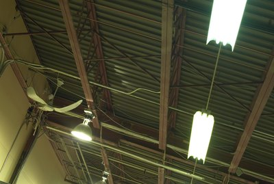 Low angle view of ceiling in warehouse
