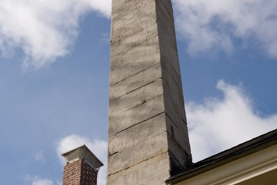 Chimneys on roof of house