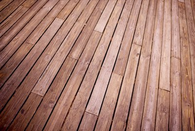 Stained wood planks